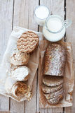 Cereal bread and milk Stock Photo