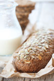 Cereal bread and milk Royalty Free Stock Image