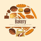 Cereal bread or pastry food banner. Pastry food and baked bread and wheat banner. Loaf of rye and brick bread and baguette, baton and ear, croissant and bun vector illustration