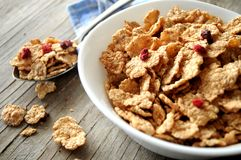 Cereal breakfast with red fruits Stock Photos
