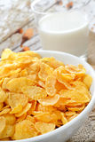 Cereal for breakfast. Breakfast table with cornflakes cereal and milk stock photo
