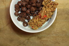 Cereal breakfast. In a white round bowl Royalty Free Stock Photography