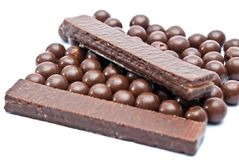 Cereal chocolate balls and bars Stock Photography