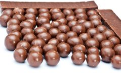 Cereal chocolate balls and bars Stock Photo