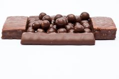 Cereal chocolate balls and bars Stock Photos