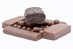 Cereal chocolate balls and bars Royalty Free Stock Photography