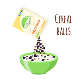 Cereal chocolate balls with blackberry. Milk, oatmeal breakfast. Flat style. Stock Image