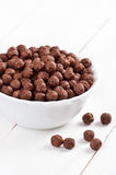 Cereal chocolate balls in bowl Royalty Free Stock Photos