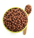 Cereal chocolate balls on white Stock Images