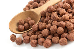 Cereal chocolate balls on white Stock Photography
