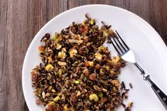 Cereal cocinado del arroz salvaje Imagen de archivo libre de regalías