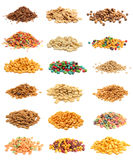 Cereal Collage. Collage of eight different piles of cereal royalty free stock images
