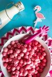 Cereal colorido del cuenco con el flamenco lindo foto de archivo libre de regalías