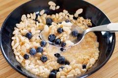 Cereal con los bluberries Fotos de archivo