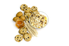 Cereal cookies, muesli, honey and nuts Royalty Free Stock Images