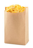 Cereal corn flakes in paper bag Royalty Free Stock Photos