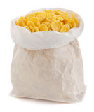 Cereal corn flakes in paper bag Royalty Free Stock Images