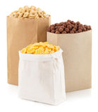 Cereal corn mix in paper bag Stock Photos