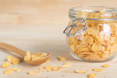 Cereal cornflakes in the glass jar Royalty Free Stock Photo
