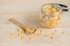 Cereal cornflakes in the glass jar Royalty Free Stock Photography