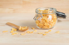 Cereal cornflakes in the glass jar Royalty Free Stock Images