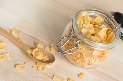 Cereal cornflakes in the glass jar Stock Photo