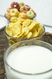 Cereal cornflakes milk breakfast meal drink bowl concept Stock Photography