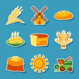 Cereal cultivation and farming sticker icon set Royalty Free Stock Image