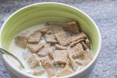 Cereal de desayuno sobre el cuenco de cerámica Fotos de archivo libres de regalías