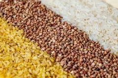 Cereal del bulgur del alforfón del arroz foto de archivo