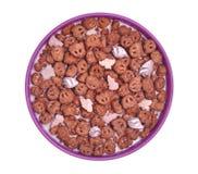 Cereal del chocolate y de la melcocha Foto de archivo