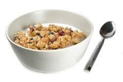 Cereal del Granola con leche Fotografía de archivo libre de regalías