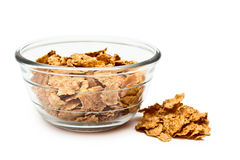 Cereal diet in a transparent bowl. Healthy diet breakfast cereals from the grain in clear glass bowl Stock Image