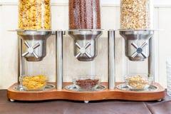 Cereal dispenser. Self service breakfast. Cereal dispenser. Self service hotel breakfast Stock Photography