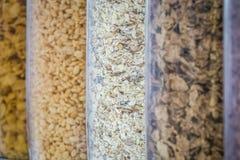 Cereal dispensers close up Stock Photos
