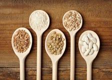 Cereal do feijão do arroz dos ingredientes de alimento Fotografia de Stock