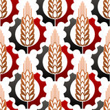 Cereal ears in gears seamless pattern Stock Photography
