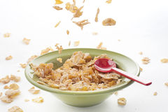 Cereal falling on the bowl Royalty Free Stock Image