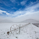 Cereal fields with irrigation wheels with snow in Nevada Royalty Free Stock Photo