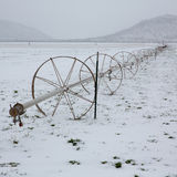 Cereal fields with irrigation wheels with snow in Nevada Stock Photo