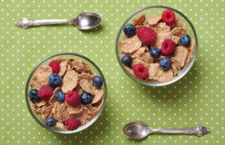Cereal flakes with berries Stock Photos