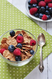 Cereal flakes with berries Stock Images