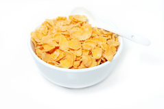 Cereal flakes in a blue bowl Stock Photo