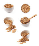 Cereal flakes in a ceramic bowl composition Royalty Free Stock Image