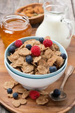 Cereal flakes with fresh berries in a bowl, milk and honey Royalty Free Stock Image