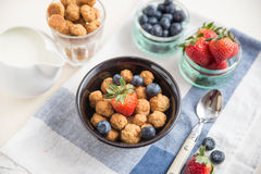 Cereal flakes with fresh berries Royalty Free Stock Photo