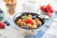 Cereal flakes with fresh berries Royalty Free Stock Images