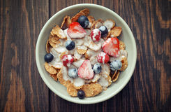 Cereal flakes with fresh berries Stock Photos