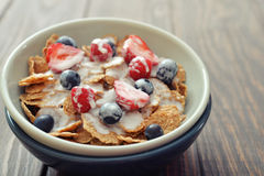 Cereal flakes with fresh berries Royalty Free Stock Image