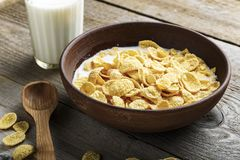 Cereal flakes in a plate royalty free stock photo